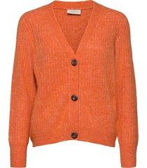 fqhill-s-car-rib stickad tröja cardigan orange free/quent