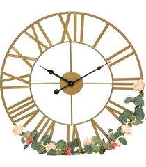 zegar ścienny fleur złoty