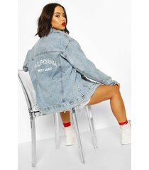 festival slogan oversized jean jacket, mid blue