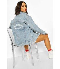 slogan oversized jean jacket, mid blue