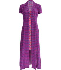 purple gingham and floral marlin dress