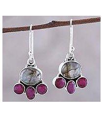 labradorite and agate dangle earrings, 'earth aglow' (india)
