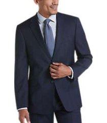 tommy hilfiger blue & black plaid slim fit suit