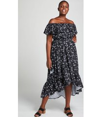 lane bryant women's off-the-shoulder high-low maxi dress 18/20 black and white floral