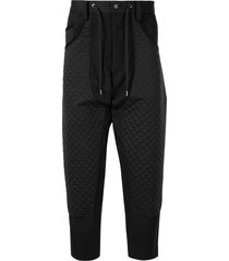 fumito ganryu diamond quilted drop-crotch trousers - black