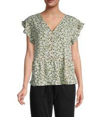 bobeau women's floral peplum blouse - olive floral - size l
