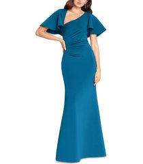 betsy & adam asymmetrical-neck gown & face mask