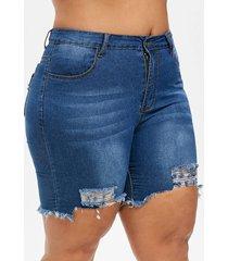 plus size ripped uneven hem jean shorts