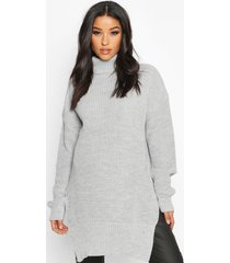 maternity roll neck side split nursing sweater, light grey