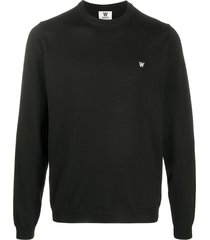 49 winters logo patch crew neck sweater - black