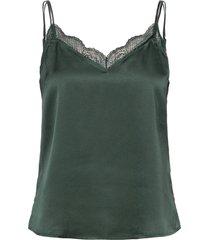 anf womens wovens blus ärmlös grön abercrombie & fitch