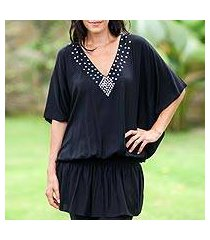 butterfly sleeve tunic, 'divine feminine in black' (indonesia)