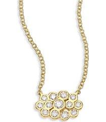 glamazon® stardust triple petite diamond & 18k yellow gold pendant necklace