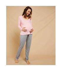 pijama feminino gestante estampa poá manga longa marisa