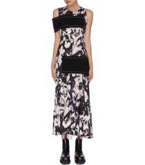 asymmetric contrast panel dress