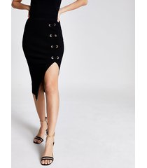 river island womens black eyelet lace-up fitted knit midi skirt