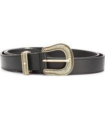 just cavalli western buckle belt - black