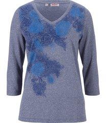 maglia stampata in misto lino con maniche a 3/4 (blu) - john baner jeanswear