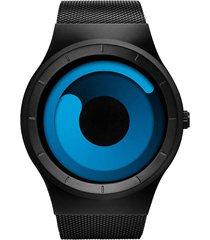 reloj hombre malla acero inoxidable sinobi 9619 azul negro