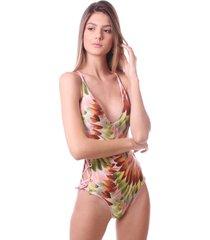 maiô simony lingerie com ilhos trilobal beach estampado rosa