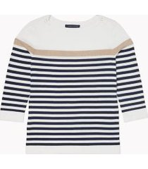 tommy hilfiger women's essential metallic stripe sweater ivory / navy stripe - xs