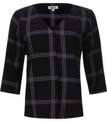 blusa 3/4 a cuadros color negro, talla m