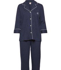 lrl heritage 3/4 sl classic notch pj set pyjama blauw lauren ralph lauren homewear