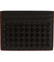 men's christian louboutin kios spikes calfskin leather card case - black