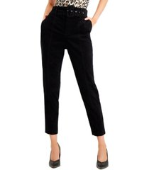bar iii velveteen belted straight-leg pants, created for macy's