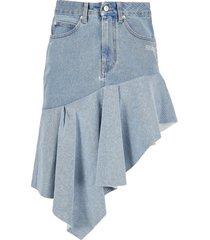 off white asymmetric denim skirt