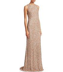 sleeveless sequin sheath gown