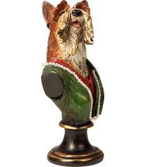 escultura decorativa de resina busto cachorro abdul