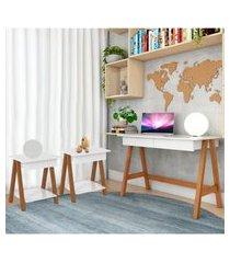 escrivaninha cavalete e conjunto mesa lateral amêndoa branco casah
