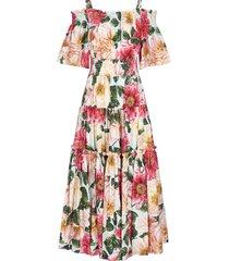 dolce & gabbana camellia-print cotton tiered dress