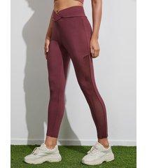 yoins leggings súper elásticos de patchwork de malla burdeos