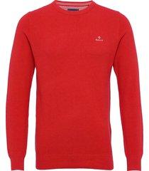 cotton pique c-neck stickad tröja m. rund krage röd gant