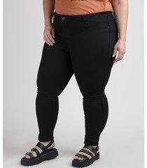 calça de sarja feminina plus size sawary cigarrete cintura alta preta