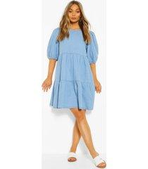 denim tierred smock dress, light blue