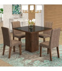 mesa de jantar 4 lugares geisa venus dover/malta/preto - viero móveis