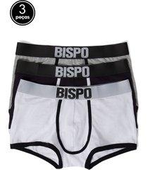 kit 3 cuecas bispo - pietro - branco/cinza/preto - masculino - algodã£o - dafiti
