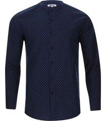camisa cuello mao puntos color azul, talla l