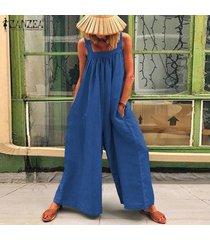 zanzea verano de las mujeres de tiras playsuit romper el traje flojo holgado llanura mono -azul
