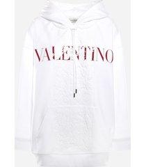 valentino cotton sweatshirt with lace inserts