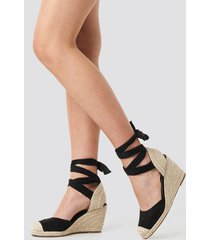 na-kd shoes jute wedge heel sandals - black