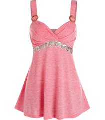 o-ring sequins ruched v neck tank top