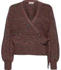 kiaracr knit wrap blouse gebreide trui bruin cream