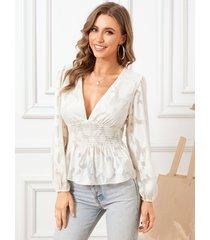 blusa de manga larga con cuello en v profundo fruncido jacquard yoins