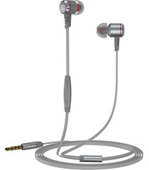 audífonos manos llibres, m410 auriculares corrientes del juego del auricular del deporte estupendo estupendo de 3.5mm metal los auriculares del oído con el micrófono para el teléfono (gris)