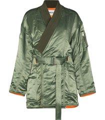 ambush kimono ma-1 hybrid belted coat - green