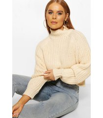 turtle neck chunky sweater, stone